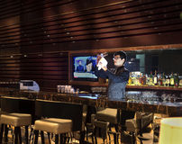 The hotel bar counter. The bar service,Bar environment,glass Stock Image