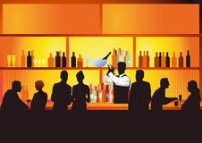 Hotel bar with guests drinking. Illustration of a hotel bar in the evening with the barman and guests shown in silhouette vector illustration
