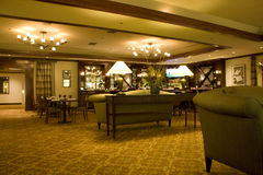 Hotel bar restaurant. This bar restaurant is big. It has very nice furniture and lighting. It is in Hilton Seattle Royalty Free Stock Photo