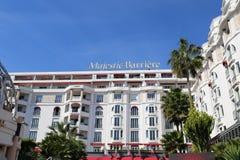 Hotel Barriere majestuoso en Cannes en el Croisette Imagen de archivo libre de regalías