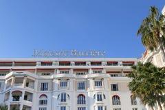 Hotel Barriere majestuoso en Cannes en el Croisette Fotografía de archivo