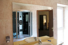 Hotel bathroom. Modern design, metal equipment Stock Images