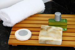 Hotel bathroom accessories. Handmade soap and bathroom items in hotel room Stock Image