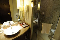 Hotel bathroom interior 12. A bathroom layout interior in a five stars hotel . in china Royalty Free Stock Photos
