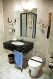 Hotel bathroom interior. Wide angle Stock Photography