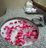 Hotel bathroom sink and faucet for wedding couple Royalty Free Stock Image