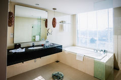 Hotel Bathroom. View of an exclusive hotel bathroom Royalty Free Stock Photos