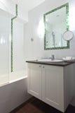 Hotel bathroom in white tones Royalty Free Stock Photo
