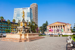Hotel and Batumi Drama Theatre buildings in Batumi. Royalty Free Stock Photography