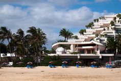 Hotel on the beach Royalty Free Stock Image