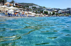 The hotel beach at the aegean sea Stock Images