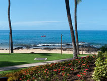 Hotel beach with grass lawn and white sand. Maui Hawaii. Read Kayak far out in the sea Royalty Free Stock Photo