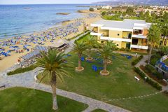 Hotel and beach in Malia, Crete. Greece Royalty Free Stock Photos