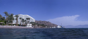 Hotel and beach near the Taba border control Stock Images