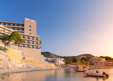 Hotel on the Beach. In Paguera at sunrise in Mallorca ( Balearic Islands - Spain royalty free stock photography