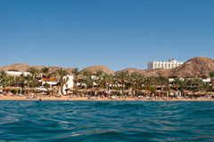 Hotel and beach are on Red sea Royalty Free Stock Images
