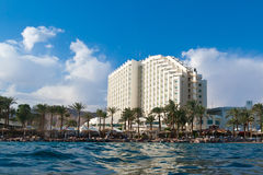 Hotel and beach are on Red sea Stock Photos