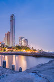 Hotel on beach and Sea Twilight Royalty Free Stock Photography