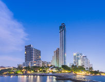 Hotel on beach and Sea Twilight Stock Photography