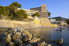 Hotel on the Beach. At sunrise in Mallorca, Spain stock photos