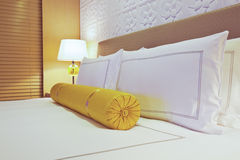 Hotel bed. The bed of five star hotel Royalty Free Stock Photos