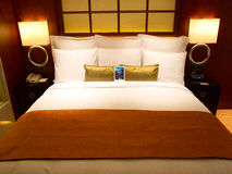Hotel Bed. Luxury Bed in an upscale hotel room Stock Photo