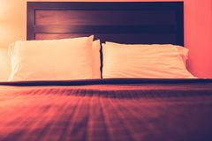 Hotel Bed Pillows Closeup Royalty Free Stock Image