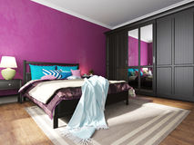 Hotel bedroom interior with black furniture Stock Photo