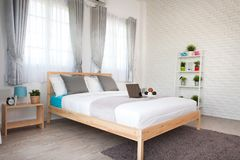 Hotel bedroom interior design. White bedroom setting studio for. Rent stock images