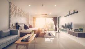 Hotel bedroom interior design. White bedroom setting studio for stock photos