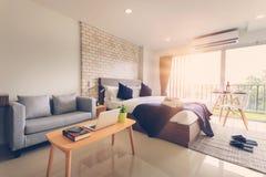 Hotel bedroom interior design. White bedroom setting studio for. Rent stock photo