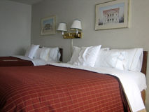 Hotel beds. Pictures of beds in a hotel Royalty Free Stock Photos