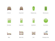 Hotel beds and Sleep signs color icons on white. Pictogram collection of Double and Single Bed, Sleeping Bag, Mat, Bunk Bed and Crib for Shop and Hotel. Flat Royalty Free Stock Photography