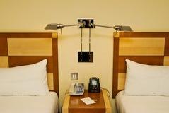 Hotel bedside Stock Images