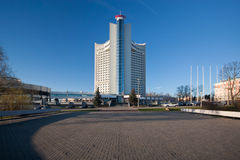 Hotel Belarus, Minsk. Shown on March day 2014 Royalty Free Stock Images