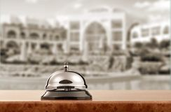 Hotel. Bell hospitality travel desk business counter Royalty Free Stock Image