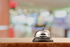 Hotel. Bell hospitality travel desk business counter Stock Photos
