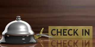 Hotel bell and keys on a reception desk. 3d illustration Royalty Free Stock Image
