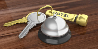 Hotel bell and keys on a wooden background. 3d illustration Stock Photos