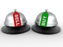 Hotel bell with labels buy and sell Stock Photos
