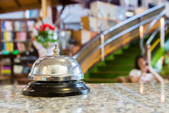Hotel bell ring. Hotel bell on the desk Royalty Free Stock Image