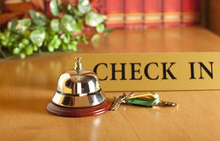 Hotel bell. Vintage old hotel bell on the table Royalty Free Stock Photography