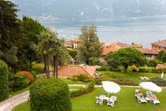 Hotel in Bellagio. Compound of a hotel resort beside Lake Como in Bellagio, Italy royalty free stock images