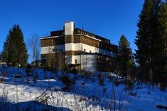 Hotel Belveder, Winter landscape in the ski resort of Špičák, Železná Ruda, Czech Republic. A Picture of the Winter landscape in the ski resort of Špičák Stock Photography