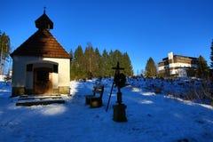 Hotel Belveder, Winter landscape in the ski resort of Špičák, Železná Ruda, Czech Republic Stock Image