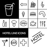 Hotel Black White Icons Set Stock Photography