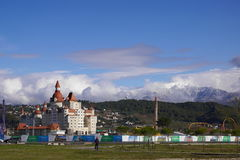 Hotel Bogatyr, mountains and attractions of Sochi-Park in Adler Stock Images