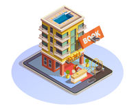 Hotel Booking Button Isometric Tablet Icon. Online hotel booking isometric icon with building street view and reception service mounted on tablet vector Royalty Free Stock Image