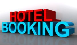 Hotel booking. A 3D illustration of the text 'hotel booking Stock Photos