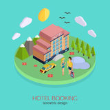 Hotel booking 3d isometric design concept. Vector illustration for web banners and website infographics vector illustration